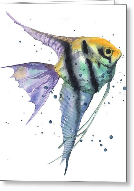 Aquariums Greeting Cards - Alluring Angelfish Greeting Card by Alison Fennell