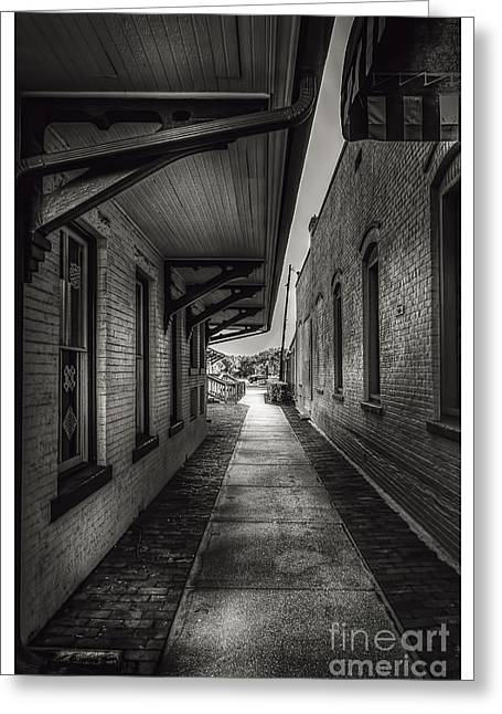 Sidewalks. Arches Greeting Cards - Alley to the Trains Greeting Card by Marvin Spates