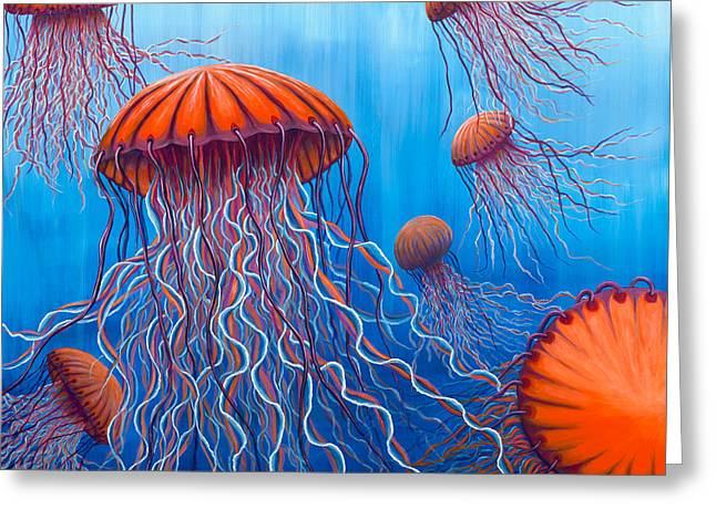 Jelly Fish Greeting Cards - Allys Orange Jellies Greeting Card by Rebecca Parker