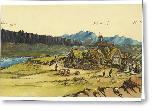 Farmer Drawings Greeting Cards - Almanna Gorge Circa 1862 Greeting Card by Aged Pixel