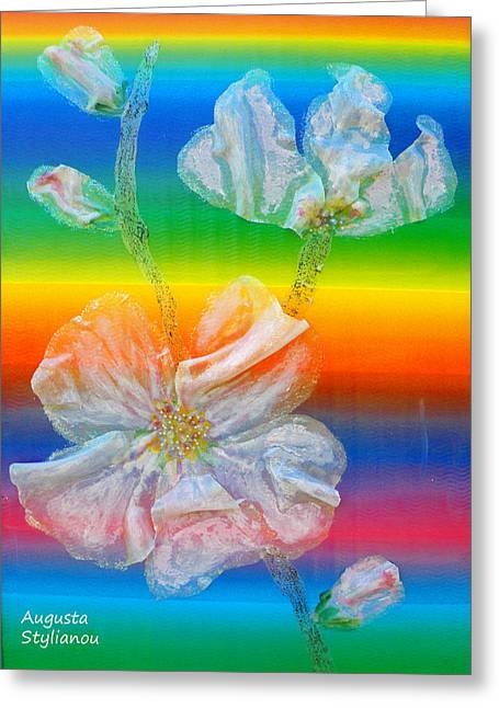 Spectrum Greeting Cards - Almond Branch in the Spectrum Greeting Card by Augusta Stylianou