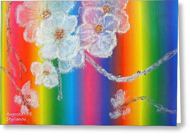 Spectrum Paintings Greeting Cards - Almond Flowers on Spectrum Greeting Card by Augusta Stylianou