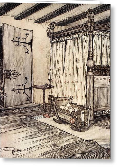 Shakespearean Greeting Cards - ..almost Fairy Time, Illustration Greeting Card by Arthur Rackham