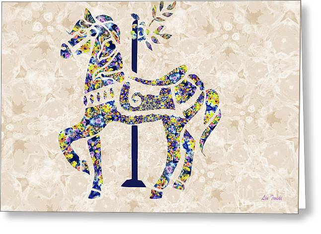 Cut-outs Greeting Cards - Almost Glass Carousel Greeting Card by Linda Troski