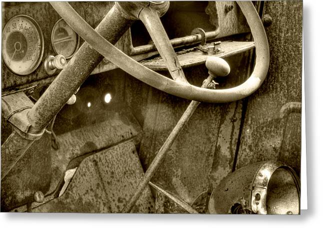 Steering Greeting Cards - Almost Gone Sepia Greeting Card by Thomas Young