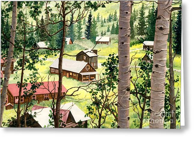 Mountain Cabin Paintings Greeting Cards - Almost Heaven Greeting Card by Barbara Jewell