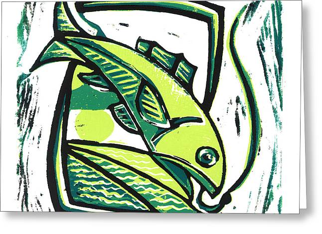 Lino Mixed Media Greeting Cards - Almost Greeting Card by Kevin Houchin