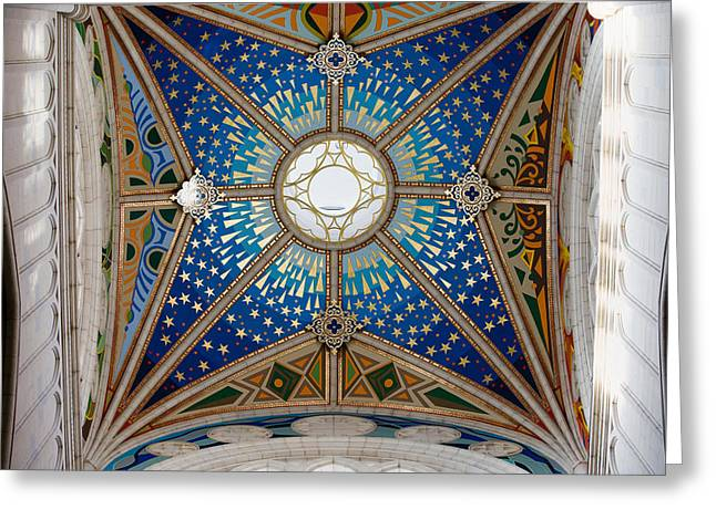 Allegoric Greeting Cards - Almudena Cathedral Dome Ceiling Greeting Card by Artur Bogacki