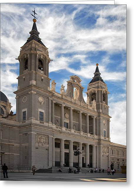 Cupola Greeting Cards - Almudena Cathedral Greeting Card by Joan Carroll
