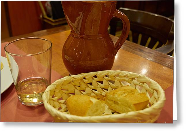 Cantina Greeting Cards - A Loaf of Bread and a Jug of Wine Greeting Card by Louise Heusinkveld