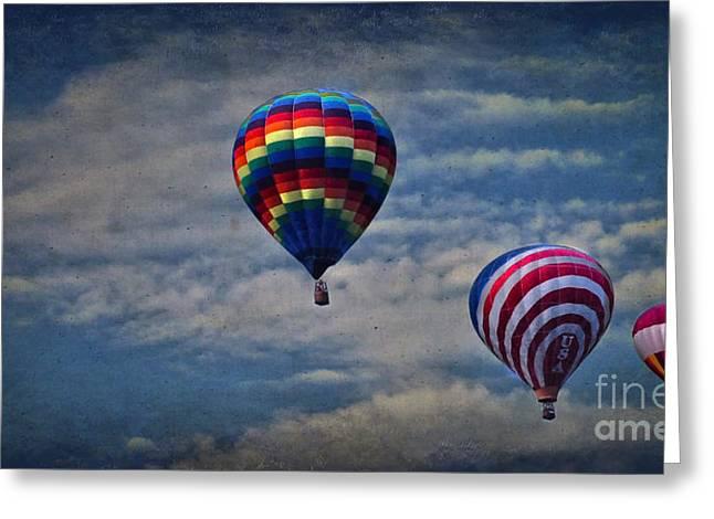 Three Hot Air Balloons Greeting Cards - Aloft Greeting Card by Debra Fedchin