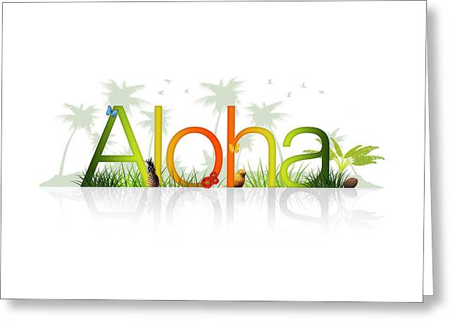 ; Maui Drawings Greeting Cards - Aloha - Hawaii Greeting Card by Aged Pixel