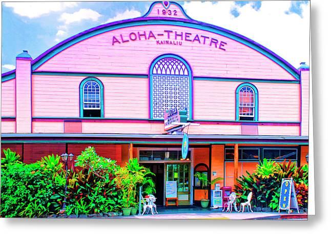 Lahaina Mixed Media Greeting Cards - Aloha Theatre Kona Greeting Card by Dominic Piperata