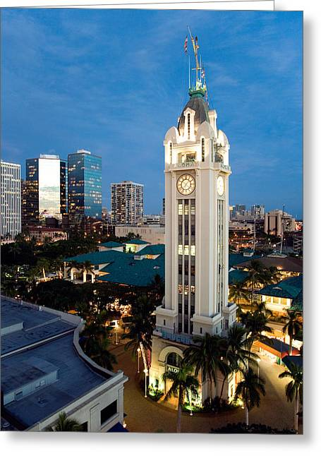 Paradise Pier Attraction Greeting Cards - Aloha Tower - The Aloha Tower in downtown Honolulu Greeting Card by Nature  Photographer
