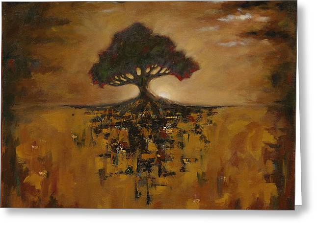 Tree Roots Paintings Greeting Cards - Alone Amongst Chaos Greeting Card by Grant Lounsbury