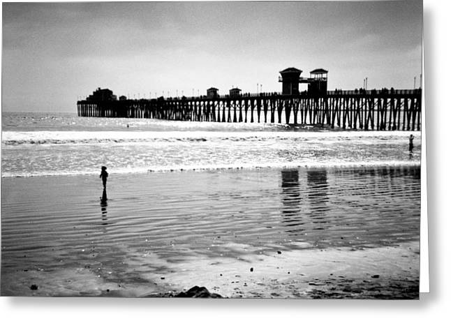 California Ocean Photography Greeting Cards - Alone at Beach Greeting Card by Alexander Snay