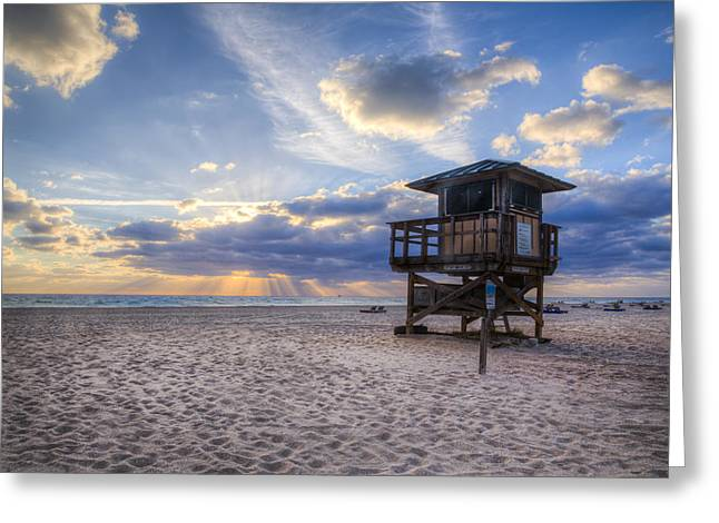Florida House Greeting Cards - Alone at Sunrise Greeting Card by Debra and Dave Vanderlaan