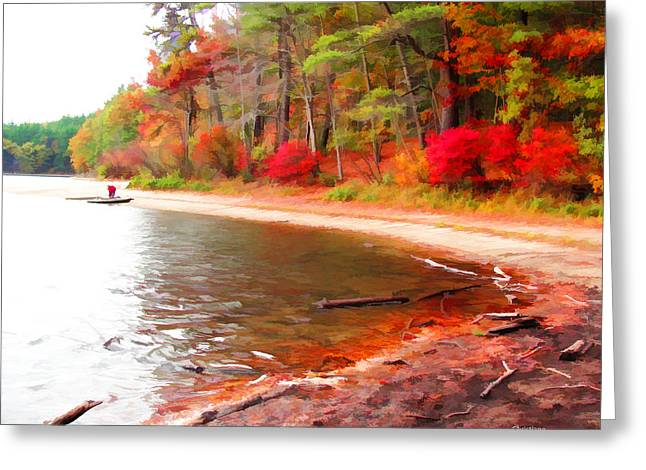 Walden Pond Greeting Cards - Alone at Walden Pond Greeting Card by Tom Christiano