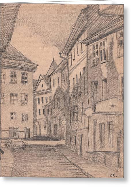 Tallinn Drawings Greeting Cards - Alone Car Greeting Card by Serge Yudin
