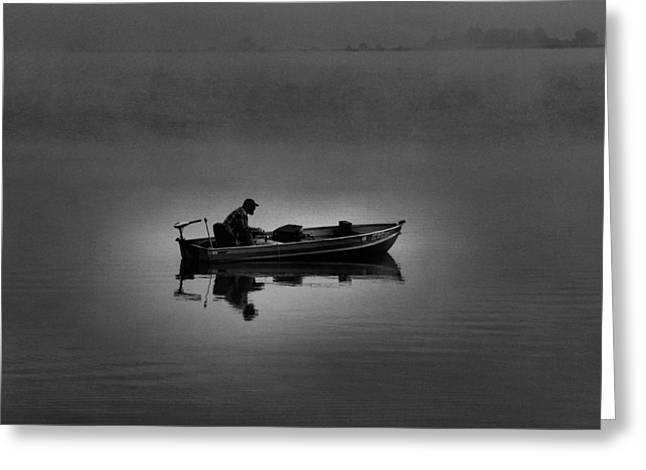 Boats On Water Greeting Cards - Alone Greeting Card by Dan Sproul