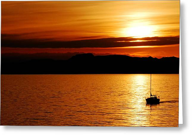 Yellow Sailboats Greeting Cards - Alone - Great Salt Lake Sunset Greeting Card by Steven Milner