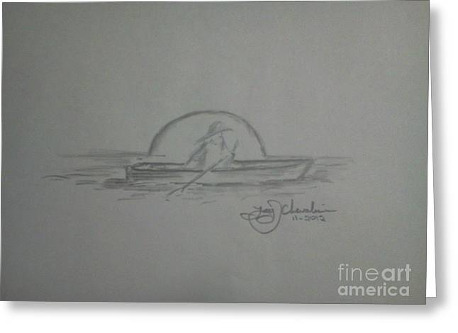 Chevalier Drawings Greeting Cards - Alone In A Boat Greeting Card by Troy Chevalier