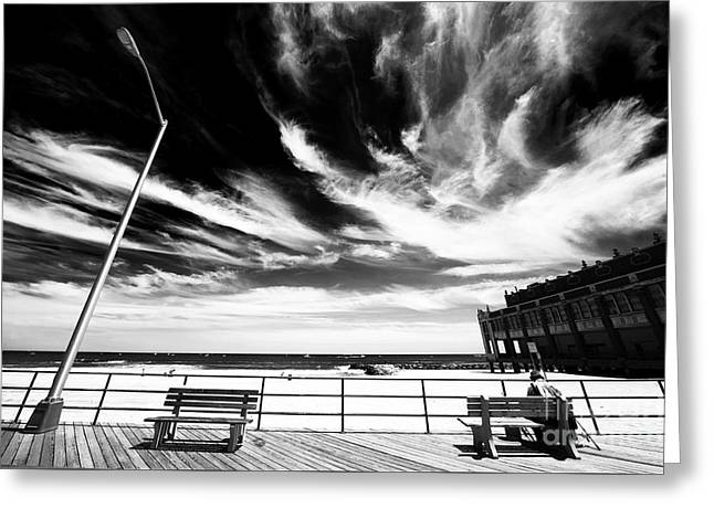 Down The Shore Greeting Cards - Alone in Asbury Park Greeting Card by John Rizzuto