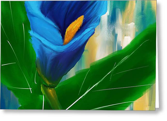 Royal Art Greeting Cards - Alone In Blue- Calla Lily Paintings Greeting Card by Lourry Legarde