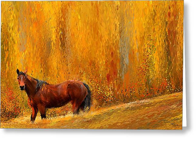 Wild Horse Greeting Cards - Alone In Grandeur- Bay Horse Paintings Greeting Card by Lourry Legarde