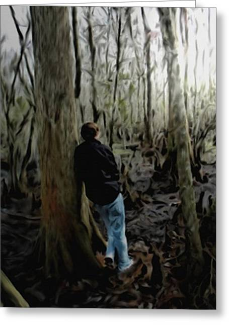 Reflection Of Trees In The Forest Greeting Cards - Alone In His Thoughts Greeting Card by Dennis Buckman