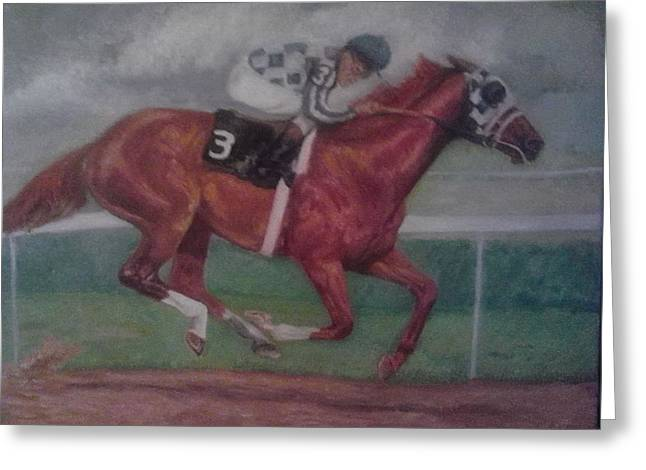 Belmont Stakes Greeting Cards - alone in the Belmont Greeting Card by Yvette Hirsch