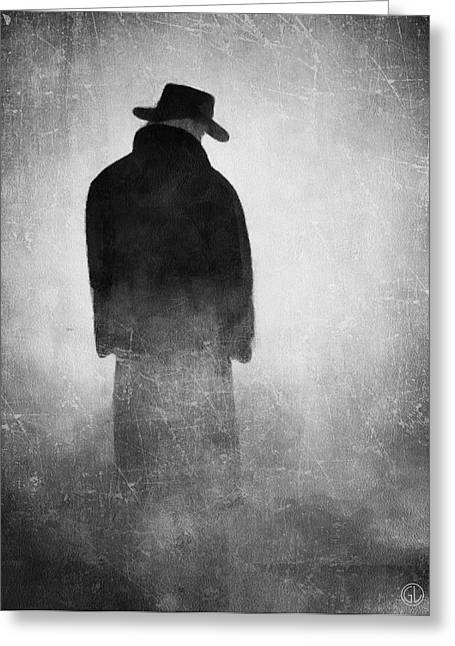 Man Dressed In Black Greeting Cards - Alone in the fog 2 Greeting Card by Gun Legler