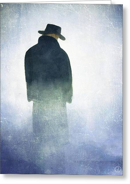 Man Dressed In Black Greeting Cards - Alone in the fog Greeting Card by Gun Legler