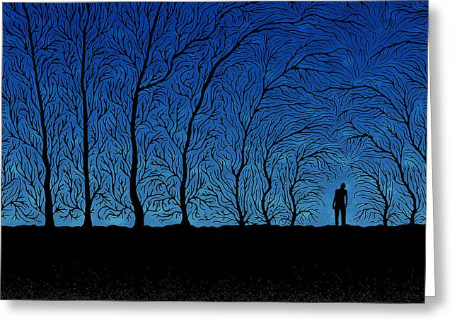 Silhouette Digital Art Greeting Cards - Alone in the Forrest Greeting Card by Gianfranco Weiss