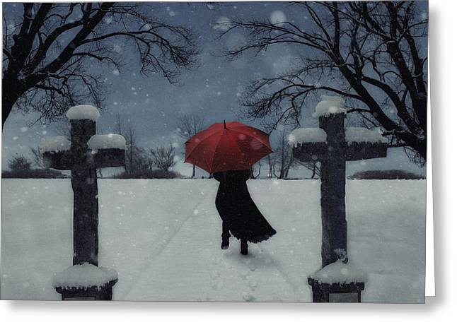 From Behind Greeting Cards - Alone In The Snow Greeting Card by Joana Kruse