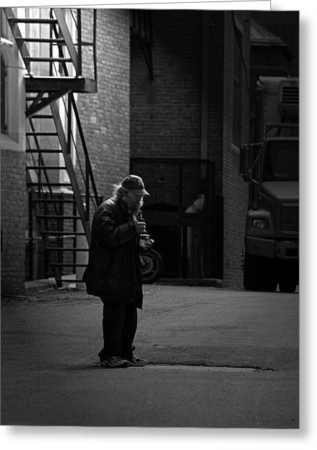 Alone In The Streets Greeting Card by Karol Livote
