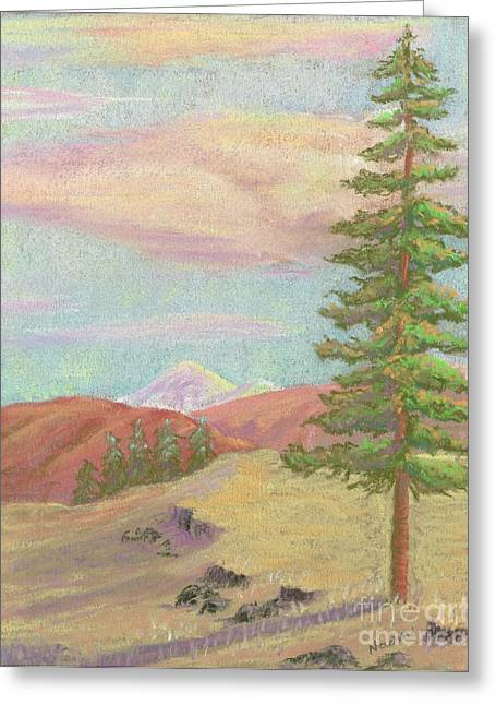 Fir Trees Pastels Greeting Cards - Alone Greeting Card by Naomi Ball