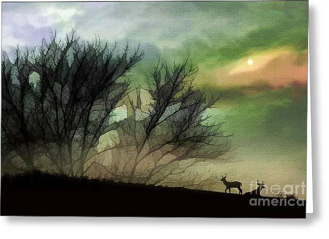 Fantasy Tree Art Greeting Cards - Alone On A Hill Greeting Card by Tom York Images
