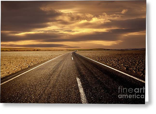 Alone Road Greeting Card by Boon Mee