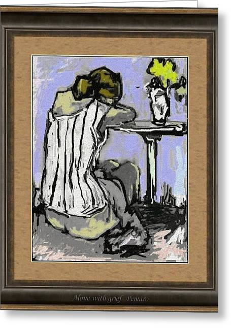 Pemaro Greeting Cards - Alone with grief AWG2 Greeting Card by Pemaro