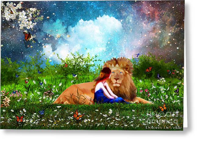 Judah Greeting Cards - Alone with the King Greeting Card by Dolores Develde