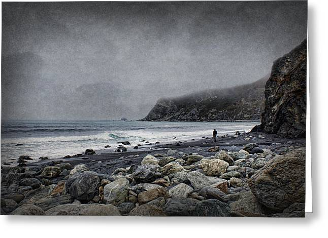 Seaside Digital Greeting Cards - Alone with the Sea Greeting Card by Nikolyn McDonald