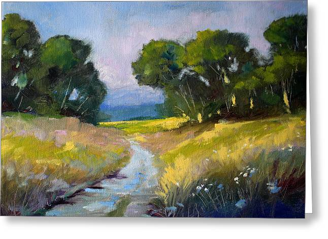 Gravel Road Paintings Greeting Cards - Along a Country Road Greeting Card by Nancy Merkle