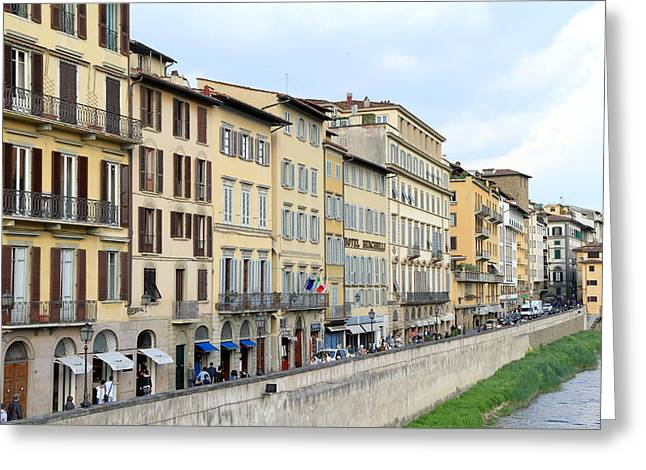Tuscan Sunset Greeting Cards - Along Arno River Greeting Card by Valentino Visentini