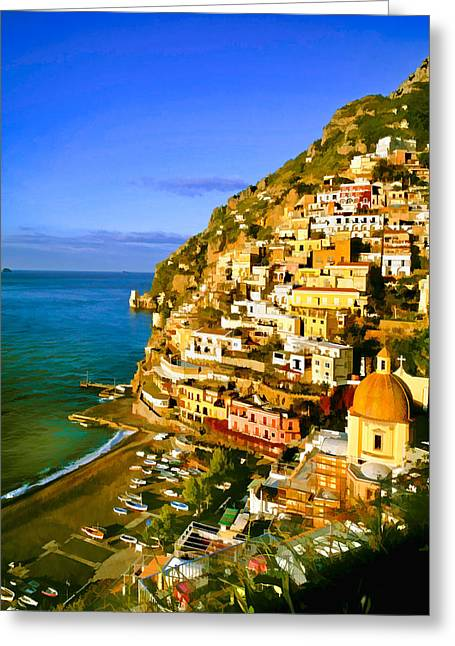 Italian Landscapes Mixed Media Greeting Cards - Along the Amalfi Coast Greeting Card by Cliff Wassmann