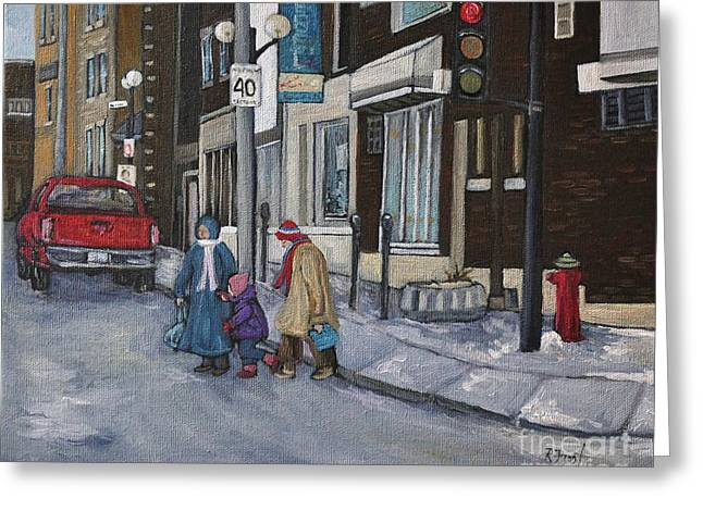 Montreal Winter Scenes Paintings Greeting Cards - Along the Boulevard Greeting Card by Reb Frost