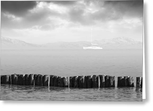 Along The Breakwater Greeting Card by Wim Lanclus