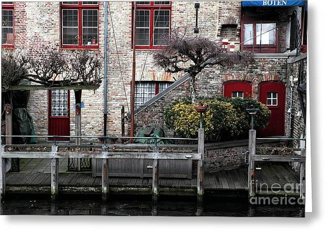 Buildings Along The Dock Greeting Cards - Along the Canal Greeting Card by John Rizzuto
