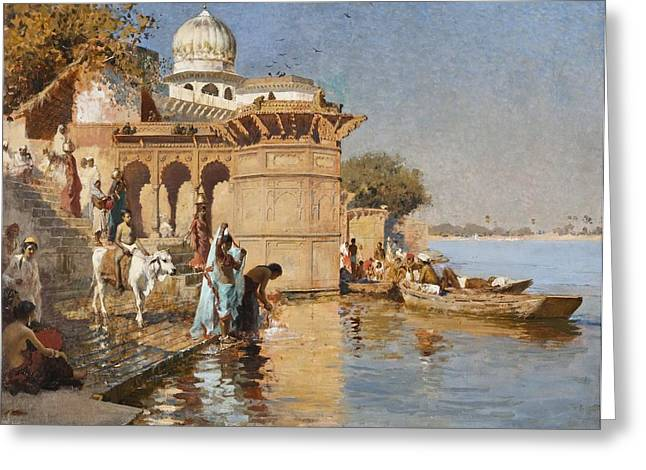 The Ganges Greeting Cards - Along the Ghats Greeting Card by Celestial Images
