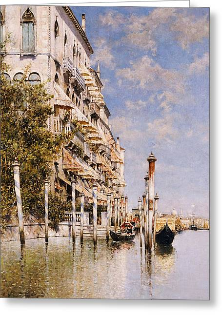 Reflecting Buildings Greeting Cards - Along the Grand Canal Greeting Card by Rafael Senet